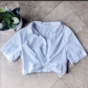 English factory cropped button down knot front top